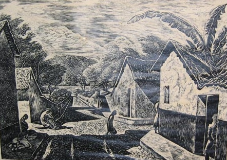Charles Frederick Surendorf: Ajijic (linocut)