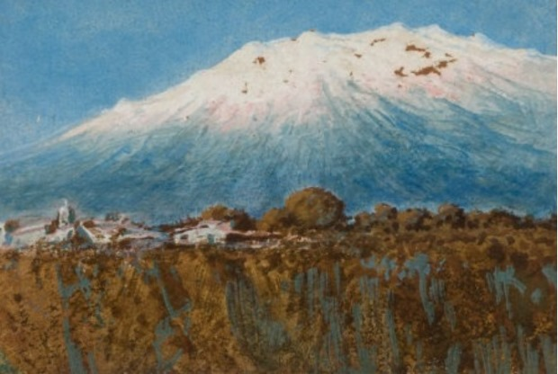 Jose Arpa: Ixtaccihuatl. Oil; ca 1898