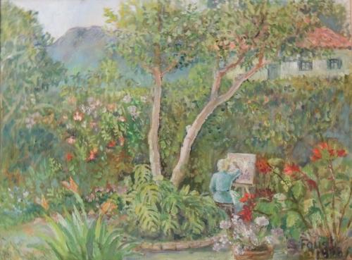Gustel Foust. Artist painting in her garden. Ajijic, Jalisco.
