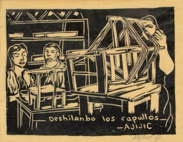 Raphael Greno. Undated. Unraveling silk cocoons, Ajijic.