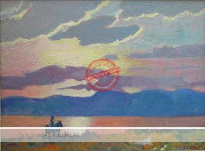 Clarence Ainslie Loomis: Sunset at Lake Chapala (1991)
