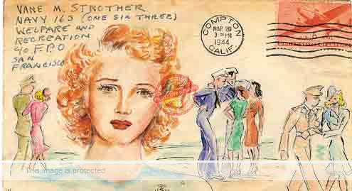 Wartime envelope decorated by Tink Strother