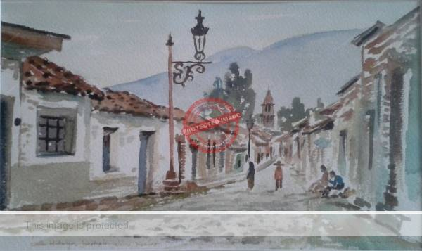 Margaret Van Gurp: Watercolor of Jocotepec (1983)