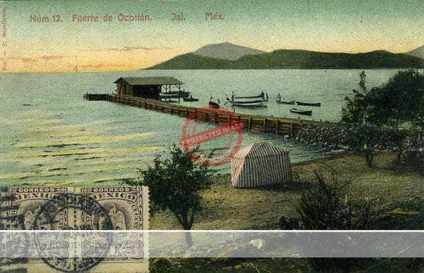 Postcard showing Lake Chapala shore near El Fuerte de Ocotlan and the Hotel Ribera