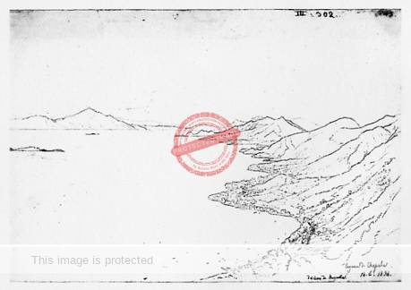 Rugendas: Drawing of Lake Chapala, January 1834