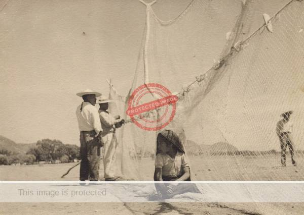 Ernest ALexander: Photo of Lake Chapala fishermen and nets, ca 1950. Photo reproduced by kind permission of Katie Goodridge Ingram.