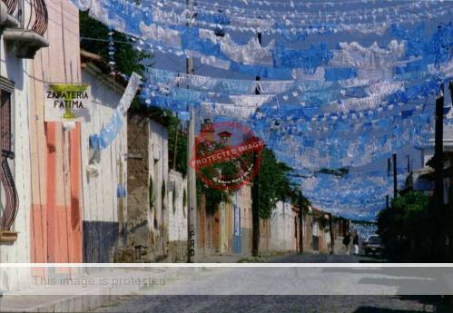 "Postcard photograph, ""Street Decorations"" (Ajijic) by Jack Weatherington and José Hinojosa"
