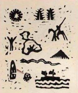 Woodcut by Hanns Otto Butterlin, Ixtaccihuatl (1921)