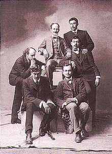 Félix Bernardelli (center), ca 1898, with (clockwise), José María Lupercio, Rafael Ponce de León, unknown student, Jorge Enciso and Gerardo Murillo