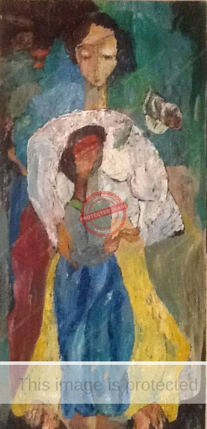 Alfred Rogoway. Mother and Child. Oil and palette knife. c 1955.