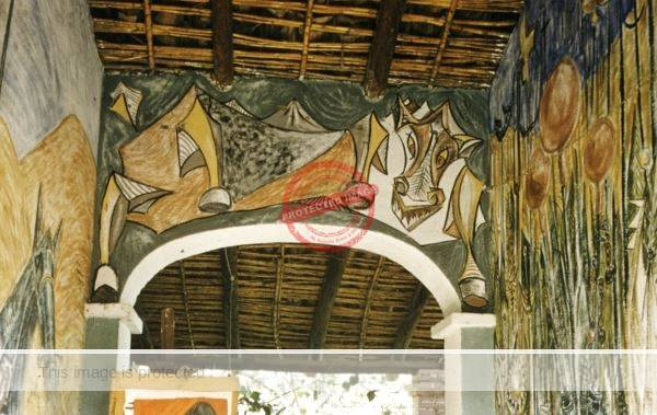 Lothar Wuerslin. Frescoes on wall of Ajijic home, 1957. Photo by Leonard McCombe, Life