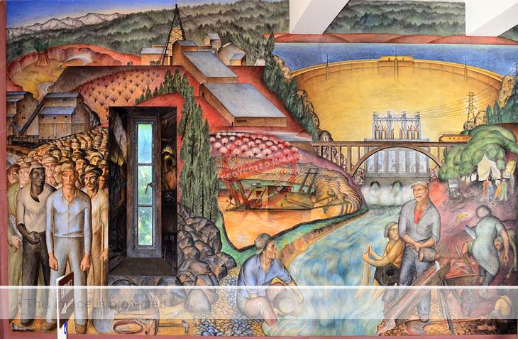 John Langley Howard. Detail of mural in Coit Tower, San Francisco.