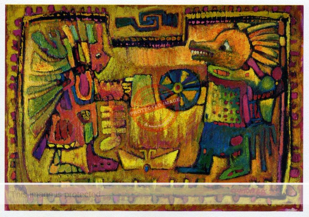 Robert Clutton. ca 1969. Tezcatlipoca in front of his smoking mirror seeing himself as Huitzilapochtli.