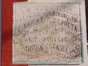 Memorial plaque on birthplace of Gabino Ortiz