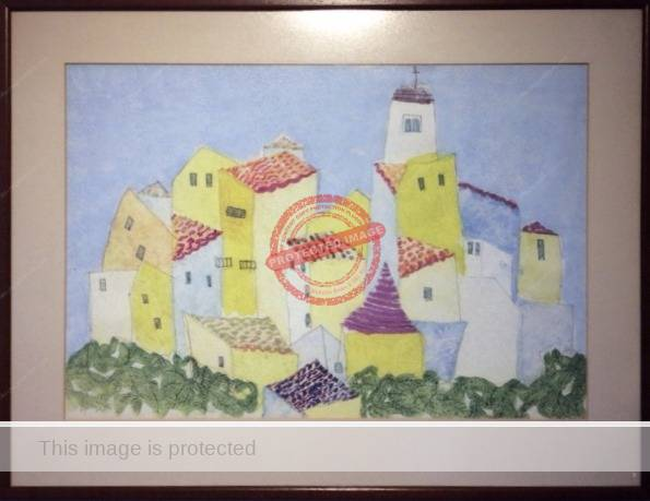Barbara Jean Elstob: Tuscan Mountain Village. (Painted left-handed ca 1985). Reproduced by kind permission of Sukey Elstob.