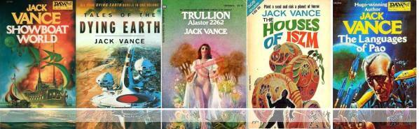 Selection of covers of books by Jack Vance