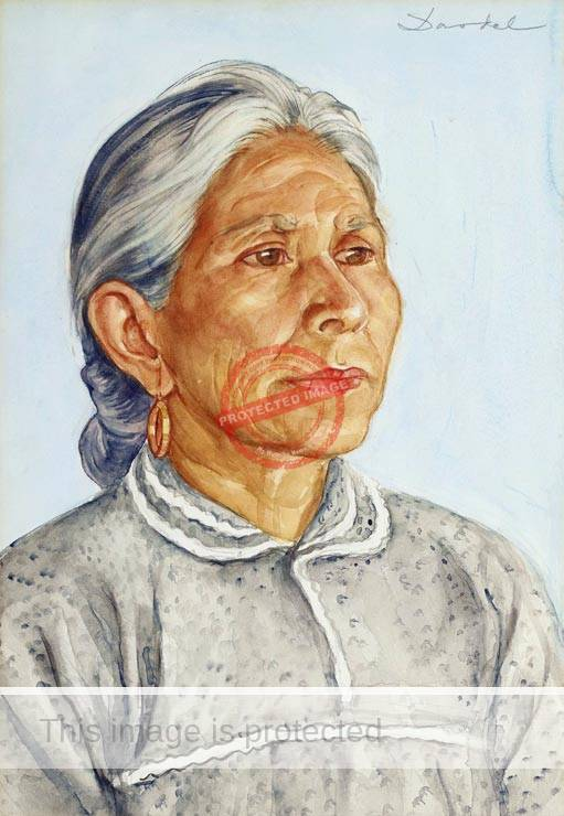 Nils Dardel. ca 1940. Elderly Mexican lady.