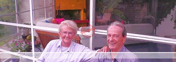 Russell Bayly relaxing at home with his neighbor Tad Davidson (Lady Mary Fleming), August 2008. Photo by Tony Burton.