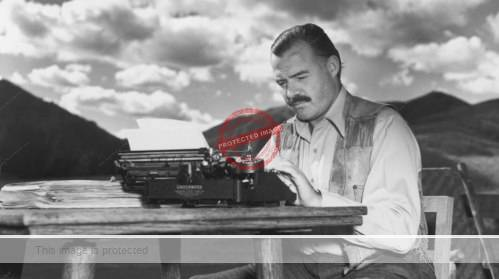 Ernest Hemingway and his trusty Underwood typewriter