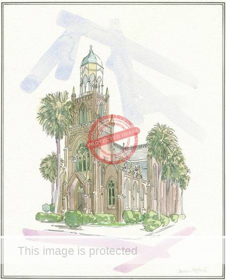 Jemison Hoskins. 1976. Hand-tinted line drawing of Congregation Mickve Israel in Savannah.. Digital image copyright 2012, The College of Charleston Libraries. Reproduced with permission.