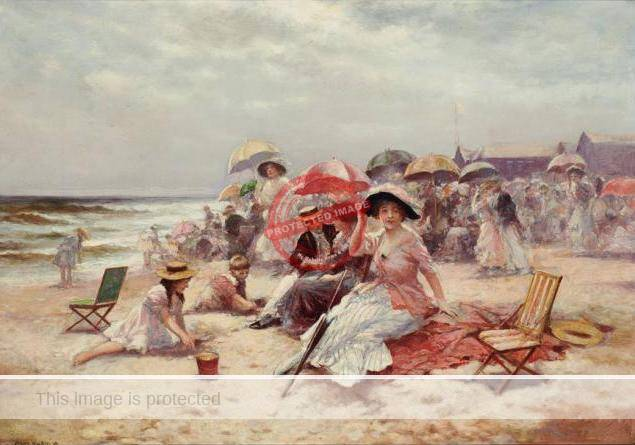 Edward Percy Moran (1916). On The Beach, East Hampton. (Doyle-Auctions 2014)