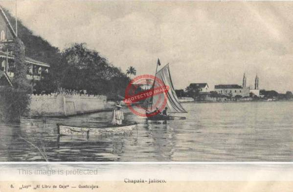 Jose María Lupercio. Chapala. Postcard view published by Juan Kaiser.