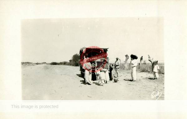 F. Faideau. ca 1920. Truck on road to Chapala. (Delcampe image)