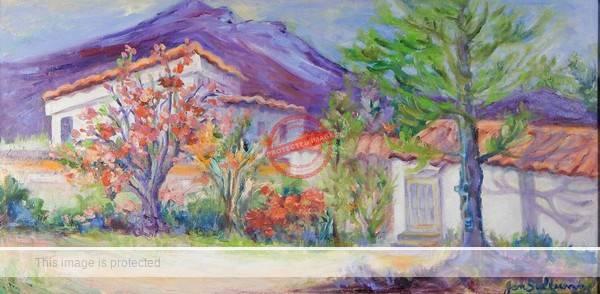 """Jan Sullivan. d.u. """"Lakeside Life"""" (oil)."""
