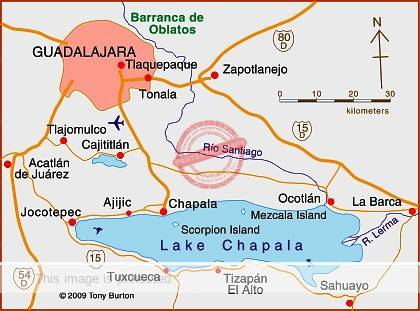 Lake Chapala map; all rights reserved