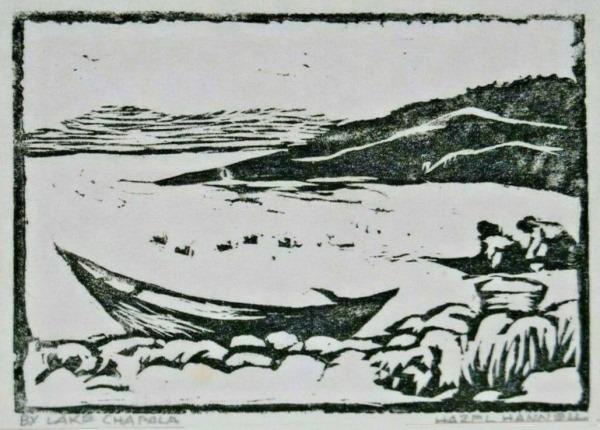Hazel Hannell. c 1985. By Lake Chapala. Woodblock.